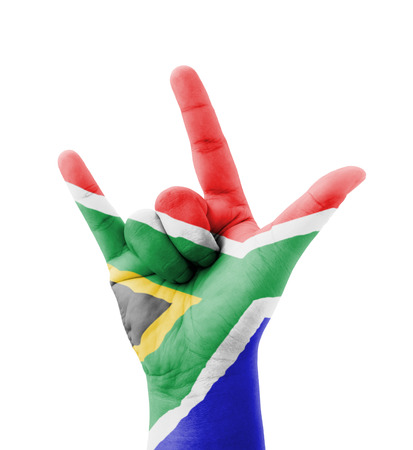 Hand making I love you sign, South Africa flag painted, multi purpose concept - isolated on white background photo