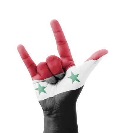 syria peace: Hand making I love you sign, Syria flag painted, multi purpose concept - isolated on white background