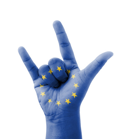 Hand making I love you sign, EU (European Union) flag painted, multi purpose concept - isolated on white background photo