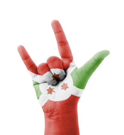Hand making I love you sign, Burundi flag painted, multi purpose concept - isolated on white background photo