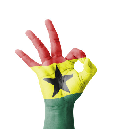 Hand Making Ok Sign Ghana Flag Painted As Symbol Of Best Quality
