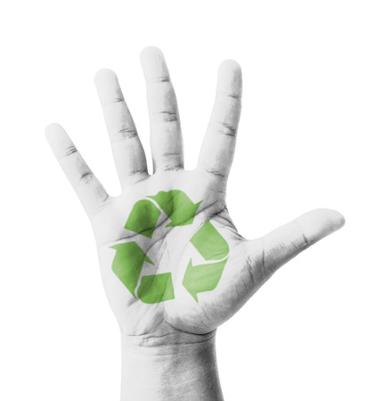 Open hand raised, Recycle sign painted, multi purpose concept - isolated on white background photo