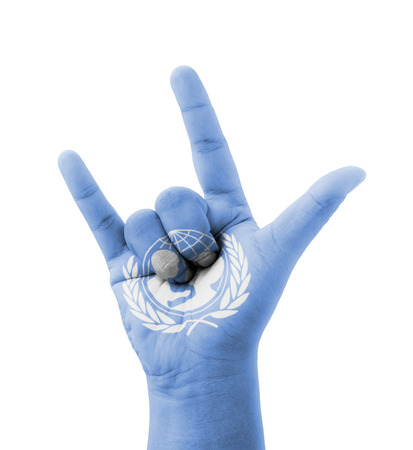 unicef: Making mano Ti amo, UNICEF (Fondo delle Nazioni Unite) bandiera dipinta, concetto multiuso