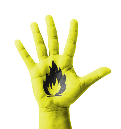 flammable: Open hand raised, Flammable sign painted, multi purpose concept