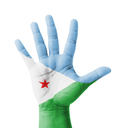 Open hand raised, multi purpose concept, Djibouti flag painted - isolated on white background Stock Photo