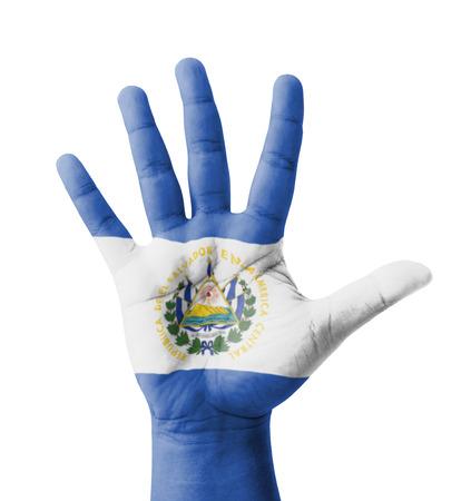 bandera de el salvador: Mano levantada abierto, multi concepto objetivo, bandera El Salvador pintado - aislada en el fondo blanco