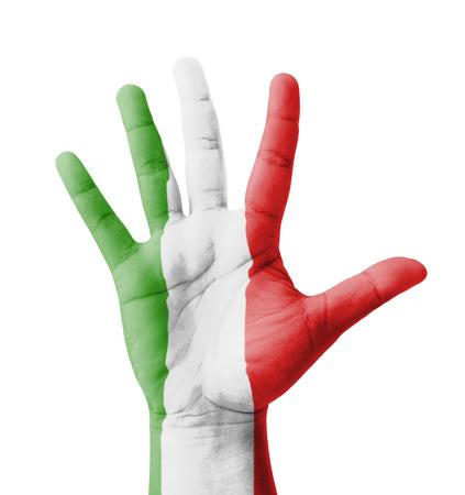bandera italiana: Mano levantada abierto, multi concepto objetivo, Italia bandera pintada - aislados en fondo blanco