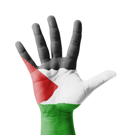 Open hand raised, multi purpose concept, Palestine flag painted - isolated on white background