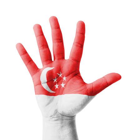 singaporean flag: Open hand raised, multi purpose concept, Singapore flag painted - isolated on white background