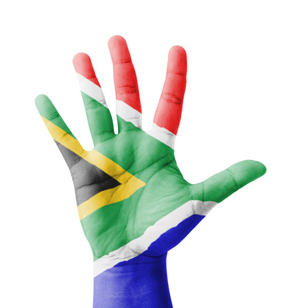 Open hand raised, multi purpose concept, South Africa flag painted - isolated on white background photo