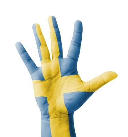 Open hand raised, multi purpose concept, Sweden flag painted - isolated on white background photo