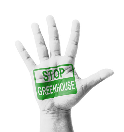 Open hand raised, Stop Greenhouse Effect sign painted, multi purpose concept photo