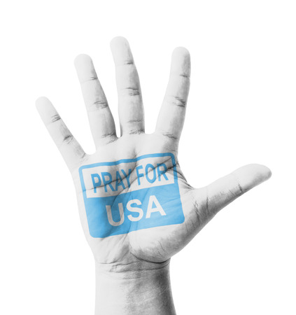 hijacked: Open hand raised, Pray for USA (United States of America) sign painted, multi purpose concept - isolated on white background