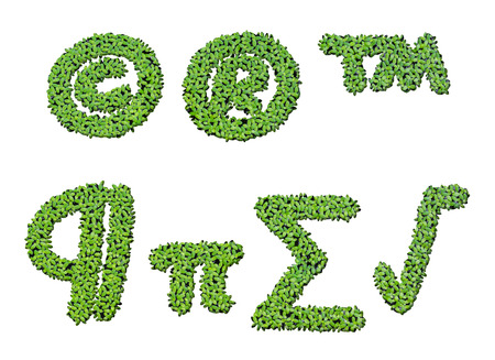 summation: Collection of alphabet letter symbols from duckweed isolated on white background Stock Photo