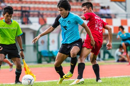 sa: SISAKET THAILAND-September 17: Mangkorn Noichomphu of Sisaket Utd. in action during Unofficial Friendly Match between Sisaket FC and Sisaket Utd at Sri Nakhon Lamduan Stadium on September 17,2014,Thailand