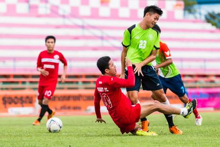 unofficial: SISAKET THAILAND-September 17: Sarayuth Chaikamdee of Sisaket FC. in action during Unofficial Friendly Match between Sisaket FC and Sisaket Utd at Sri Nakhon Lamduan Stadium on September 17,2014,Thailand