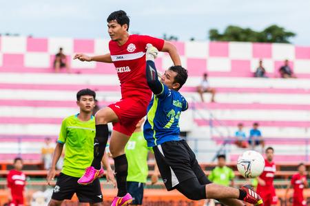 unofficial: SISAKET THAILAND-September 17: Unidentified goalkeeper of Sisaket Utd. in action during Unofficial Friendly Match between Sisaket FC and Sisaket Utd at Sri Nakhon Lamduan Stadium on September 17,2014,Thailand Editorial