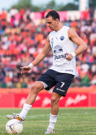 SISAKET THAILAND-October 15: Carmelo Gonzalez of Buriram Utd. in action during a training ahead Thai Premier League between Sisaket FC and Buriram Utd at Sri Nakhon Lamduan Stadium on October 15,2014,Thailand Editorial