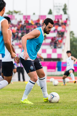 buriram: SISAKET THAILAND-October 15: Andres Tunez of Buriram Utd. in action during a training ahead Thai Premier League between Sisaket FC and Buriram Utd at Sri Nakhon Lamduan Stadium on October 15,2014,Thailand