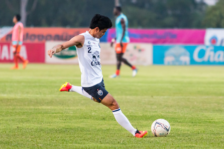 buriram: SISAKET THAILAND-October 15: Theerathon Bunmathan of Buriram Utd. in action during a training ahead Thai Premier League between Sisaket FC and Buriram Utd at Sri Nakhon Lamduan Stadium on October 15,2014,Thailand