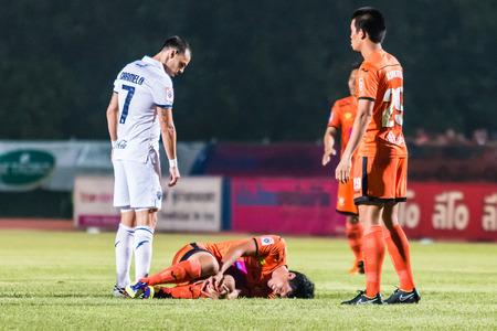 SISAKET THAILAND-OCTOBER 15: Chatchai Mokkasem of Sisaket FC. injured during Thai Premier League between Sisaket FC and Buriram Utd at Sri Nakhon Lamduan Stadium on October 15,2014,Thailand