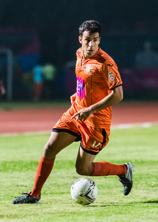 SISAKET THAILAND-OCTOBER 15: Gorka Unda of Sisaket FC. in action during Thai Premier League between Sisaket FC and Buriram Utd at Sri Nakhon Lamduan Stadium on October 15,2014,Thailand