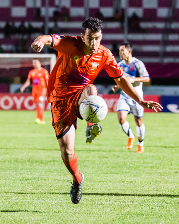 SISAKET THAILAND-OCTOBER 22: Gorka Unda of Sisaket FC. in action during Thai Premier League between Sisaket FC and Air Force Central FC at Sri Nakhon Lamduan Stadium on October 22,2014,Thailand Editorial
