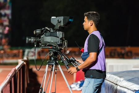 SISAKET THAILAND-OCTOBER 29: Cameraman during Thai Premier League match between Sisaket FC and Army Utd at  Sri Nakhon Lamduan Stadium on October 29,2014,Thailand