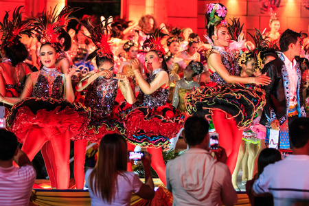 SISAKET, THAILAND - DECEMBER 27 : Unidentified young dancers performs dance competition during Red Cross Fair 2014 at Sisaket City Hall on December 27, 2014, Thailand