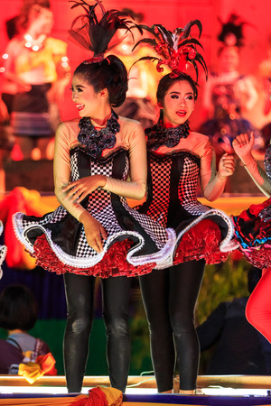 red cross: SISAKET, THAILAND - DECEMBER 27 : Unidentified young dancers performs dance competition during Red Cross Fair 2014 at Sisaket City Hall on December 27, 2014, Thailand