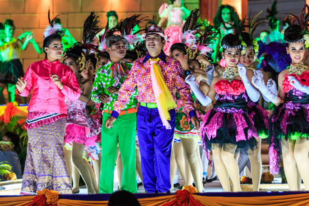 SISAKET, THAILAND - DECEMBER 27 : Unidentified dancers performs dance competition during Red Cross Fair 2014 at Sisaket City Hall on December 27, 2014, Thailand