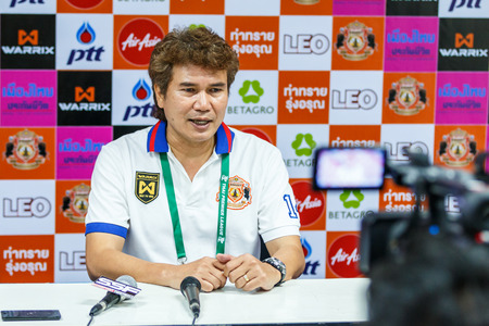 match head: SISAKET THAILAND-FEBRUARY 18: Chalermwoot Sa-Ngapol head coach of Sisaket FC at a press conference after the match between Sisaket FC and BEC Tero at Sri Nakhon Lamduan Stadium on February 18,2015,Thailand