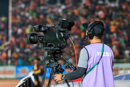 premier league: SISAKET THAILAND-APRIL 4: Cameraman during Thai Premier League match between Sisaket FC and Thai Port FC at Sri Nakhon Lamduan Stadium on April 4,2015,Thailand