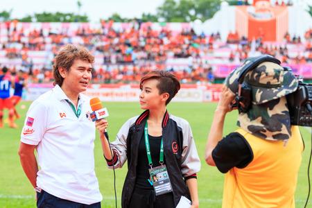 SISAKET THAILAND-JUNE 21: Nutiada Korsuwan of True Sport reports before the game of Thai Premier League between Sisaket FC and Royal Thai Navy FC at Sri Nakhon Lamduan Stadium on June 21,2015,Thailand