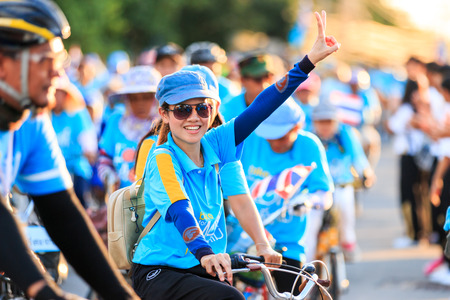 simultaneous: SISAKET,THAILAND-AUGUST 16-2015: This event is Bike for mom from Thailand. Bike for mom event show respected to Queen and makes Thailands cyclists set record for worlds biggest bike ride.