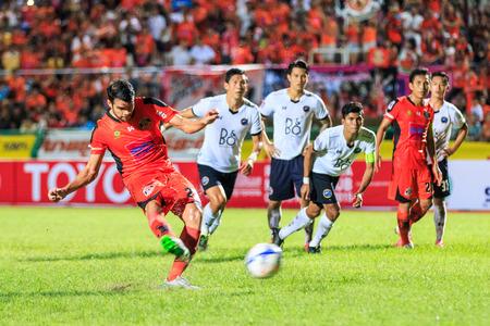 premier league: SISAKET THAILAND-SEPTEMBER 16: Victor Amaro of Sisaket FC. take a penalty kick during Thai Premier League between Sisaket FC and Pattaya Utd at Sri Nakhon Lamduan Stadium on September 16,2015,Thailand