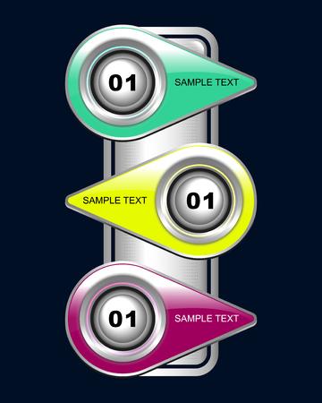 bottons: set of color buttons for web, vector illustration Illustration