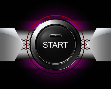 vector button: start button on violet background. vector illustration