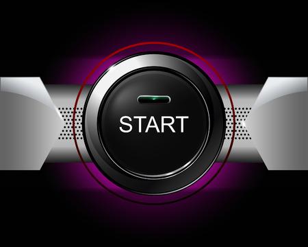 startknop op violette achtergrond. vector illustratie