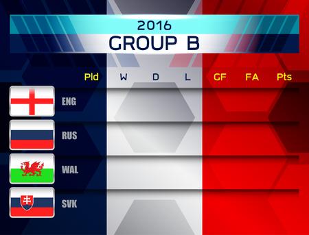 group b: european soccer group b, vector illustration