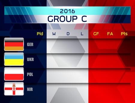 european soccer group c, vector illustration