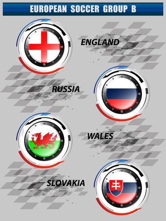 group b: European Soccer Group B On Tournament, Illustration Illustration
