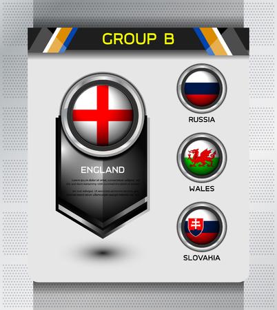 group b: group b of european on soccer tournament, Illustration Illustration