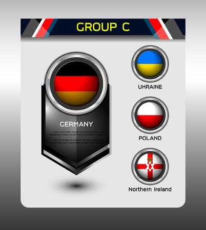 group e of european on soccer tournament, Illustration
