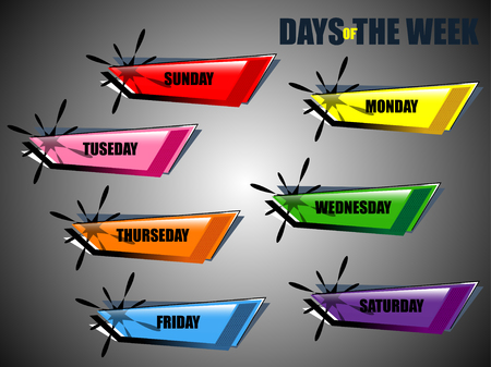 days of the week: Days of the week set button, vector illustration