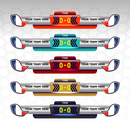 color match: soccer scoreboard template, vector illustration