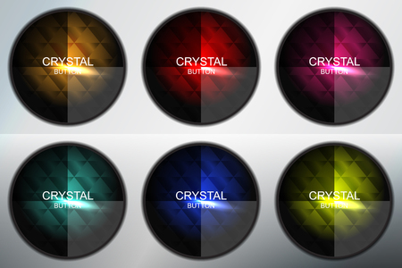 crystal button: set of crystal button circle, vector illustration