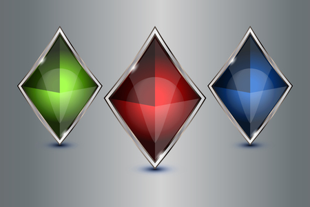 crystal button: set of crystal button geometric, vector illustration