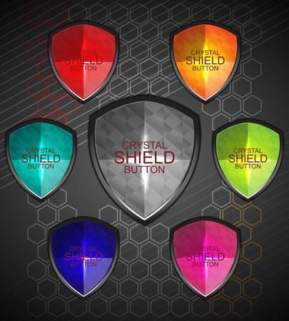 crystal button: set of crystal button shield, vector illustration Illustration