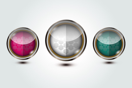 crystal button: set of crystal button sphere, vector illustration
